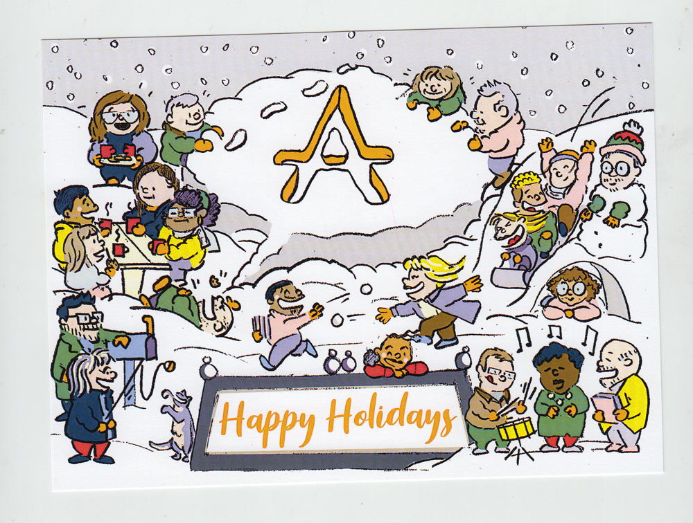 Final art depicting the whole staff of the arts council wishing Pittsburgh Happy Holidays.